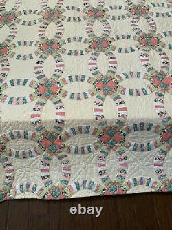 Vintage Indian Wedding Ring Pickle Dish Hand made Quilt CREAM