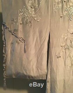 Vintage Japanese Handmade Embroidered Silk Quilted Kimono Robe Silvery Gray 65L