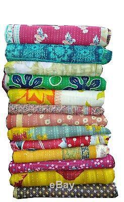 Vintage Kantha Quilt Reversible Throw Gudri Wholesale Handmade Indian Lot 10 pcs