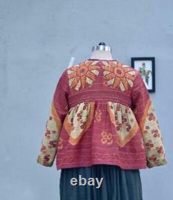Vintage Kantha Quilted Boho Cropped and Flared Jacket