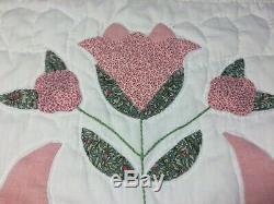 Vintage King Thin Summer Quilt Handmade Birds Flowers 96 x 110