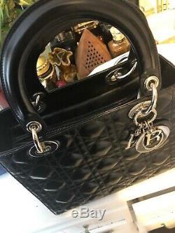 Vintage Lady Dior Handbag Cannage Quilt Patent Medium