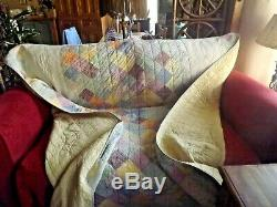 Vintage Large Patchwork Quilt / Throw / Bed Spread Hand Made
