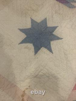 Vintage Lone Center Star Handmade Quilt 1930s 1940s 72x82 Antique