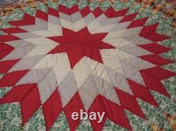 Vintage Lone Star Patchwork Multi Color Quilt Quilts Cotton Handmade 83 L 76 W