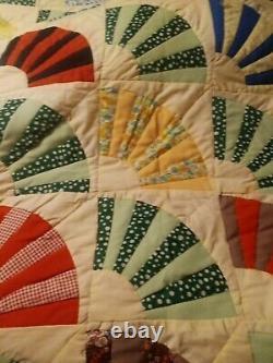Vintage Louisiana Handmade Quilt 84x88 Beautiful Quality