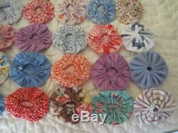 Vintage Multicolor Handmade Yo-Yo Quilt 85 x 108