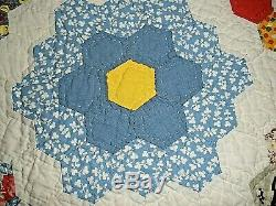 Vintage Patch Floral Quilt Handmade 84 x 60 Made in Amish Country PA BEAUTIFUL