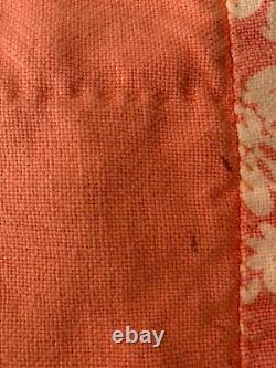 Vintage Patchwork Cotton Quilt Hand Stitched Rosebud Tulip Pattern Handmade