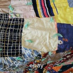 Vintage Patchwork Hand Made Scrap Quilt Beautiful Prints 72.5 x 78
