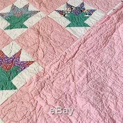 Vintage Pink Hand Stitched Patchwork Quilt Queen Handmade 85 X 96