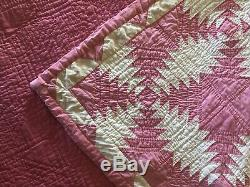 Vintage Pink & White Hand Made Hand Quilted Pineapple Quilt 90 X 89 5 Stars