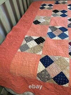 Vintage Quilt 72x80 Hand Quilted Widower's Choice Pattern Coral Pink
