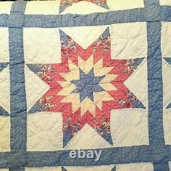 Vintage Quilt 81x81 8 Point Star Handmade Pink Blue White Backing Farmhouse