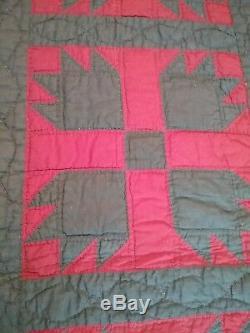 Vintage Quilt Bear Claw Pattern Handmade