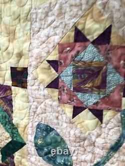 Vintage Quilt COVERLET 48 X 66 Handmade Signed Dated STARS Garden Baskets