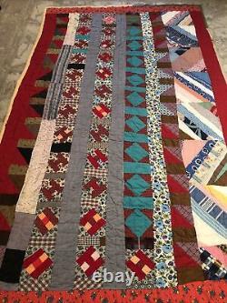 Vintage Quilt Folk Art Patchwork Quilt 85x53 Handmade Colorful Rustic Clean WoW