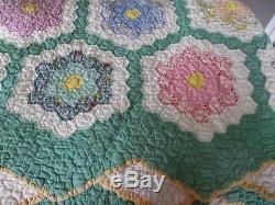 Vintage Quilt Grandmothers Flower Garden Handmade 80 x 67 Beautiful Art Piece