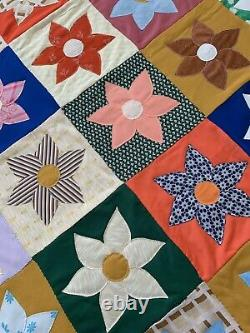 Vintage Quilt Handmade 86 X 76 Hand Stitched Coverlet Flowers 60s 70s