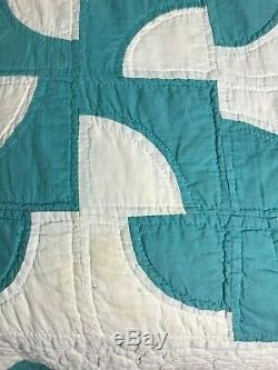 Vintage Quilt Handmade Hand Sewn Drunkard's Path Teal