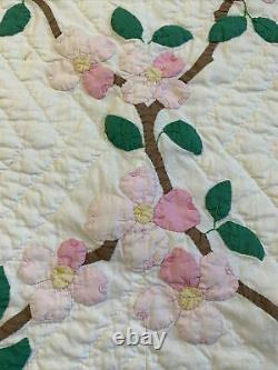 Vintage Quilt Pink Flower Applique 71x87 Hand Quilted Dogwood Tree
