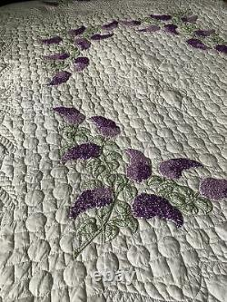 Vintage Quilt Purple Lilac Embroidery Lee Wards 83x96 Prairie Points