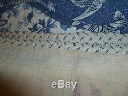Vintage Quilt Red Print Sawtooth Handmade
