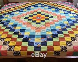 Vintage Quilt Top Handmade Hand Quilted 89 x 89 Polyester Floral boho 70's