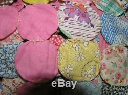 Vintage Quilt Yo Yo handmade handsewn patchwork 98x87 coverlet home STUNNING