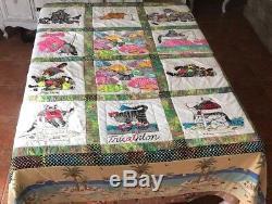 Vintage RARE Hawaiian Crazy Cat BK Kilban Tee Shirt Quilt Handmade/ Pillow Sham