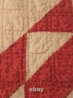Vintage Red And White Handmade Quilt