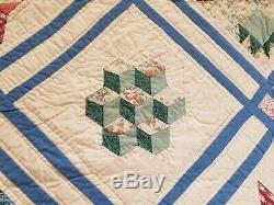 Vintage Sampler Quilt Handmade Cotton Multicolor Large 104x91