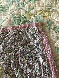 Vintage Sawtooth or Christmas Star Block Hand Made Quilt 79 X 68 5 Star