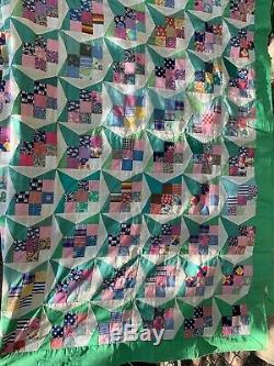 Vintage Unfinished Handmade Quilt Hand Sewing, No Machine 71 X 88