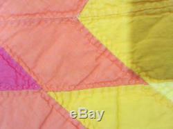 Vintage Vibrant Lonestar Quilt / Handmade in Pink Orange & Yellow / WOW