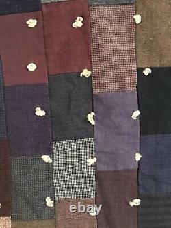 Vintage Wool Quilt Mens Suit Work Fabrics 88 x 73 Handmade Heavy Primitive