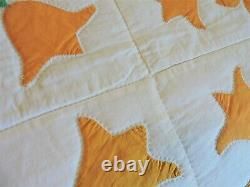 Vintage YellowithOrange Tulip Quilt 86 by 88
