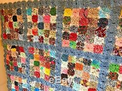Vintage YoYo Handmade Quilt Coverlet Blanket Bed Spread Gorgeous Hand Stitched