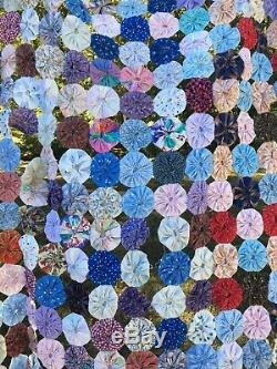 Vintage Yoyo Patch Circle Quilt Top Lg Handmade Unfinished Colorful 100 x 82