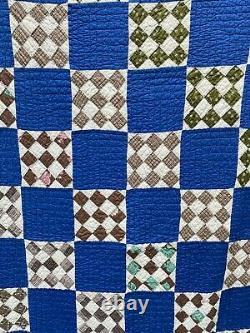 Vintage antique soft blue indigo 9 patch checker checkerboard quilt 1950s cotton