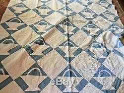 Vintage blue and white hand made soft and light weight quilt