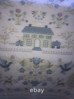 Vintage hand Made Cross Stitch Quilt Blue & White 90x78 Its A Masterpiece