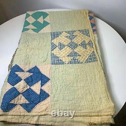 Vintage hand sewn quilt coverlet full queen blue checkered square and triangle