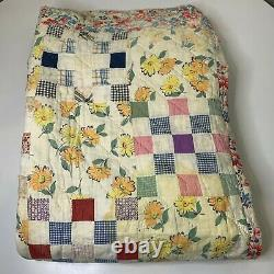 Vintage hand sewn quilt coverlet queen full daisy floral reversible square 70x90