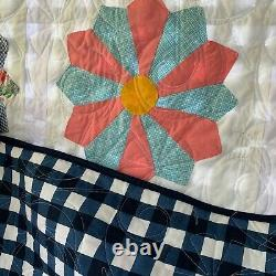 Vintage handmade quilt, 69x88, Dresden plates, soft and