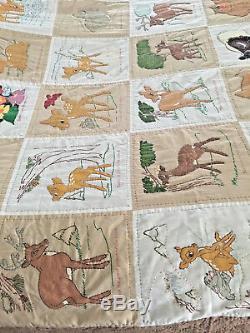 Vintage handmade quilt twin size 66 x 88 bambi thumper flower owl disney theme