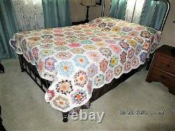 Vtg 72x92 Hand Made Grandmother Flower Garden Cotton Feed Sack Quilt Tiny Stitch