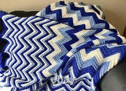 Vtg Afghan Afgan Crochet Chevron Stripe Blue Blanket Throw 109 X 66 Bed Quilt