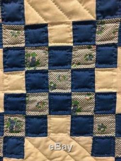 Vtg Antique Quilt Blue & White Irish Chain Handmade Hand Stitched @7'10x 5'11