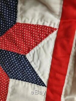 Vtg Farm Estate Quilt Handmade Hand Sewn Patchwork 103x88 Coverlet Bedspread